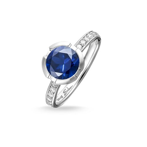 "solitaire ring ""Signature Line dark blue pavé small"" from the Glam & Soul collection in the THOMAS SABO online store"