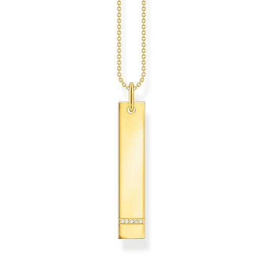 Necklace tag with white stones gold from the  collection in the THOMAS SABO online store