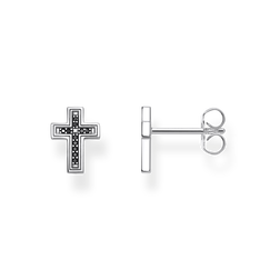 ear studs Cross black from the Rebel at heart collection in the THOMAS SABO online store