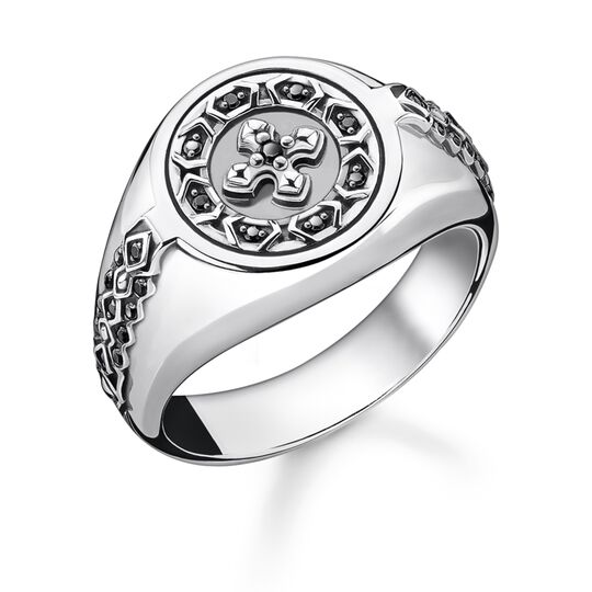 Ring cross black stones from the Rebel at heart collection in the THOMAS SABO online store