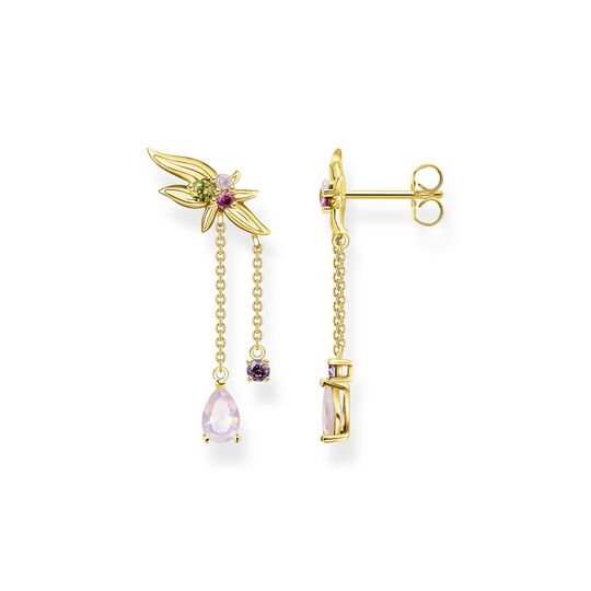 Earrings flower with colourful stones gold from the  collection in the THOMAS SABO online store