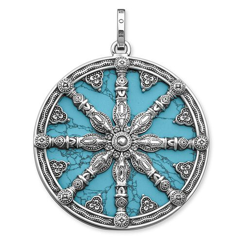 "pendant ""Karma Wheel with turquoise disc"" from the Karma Beads collection in the THOMAS SABO online store"