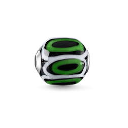 Bead Glass Bead Green, black, white from the Karma Beads collection in the THOMAS SABO online store