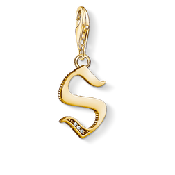 Charm pendant letter S gold from the Charm Club Collection collection in the THOMAS SABO online store