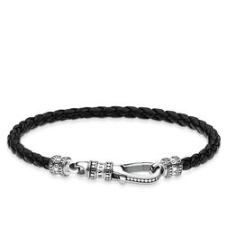Bracciale in pelle Moschettone from the Rebel at heart collection in the THOMAS SABO online store