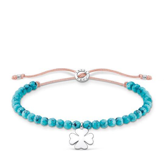 Armband türkise Perlen mit Kleeblatt aus der Charming Collection Kollektion im Online Shop von THOMAS SABO