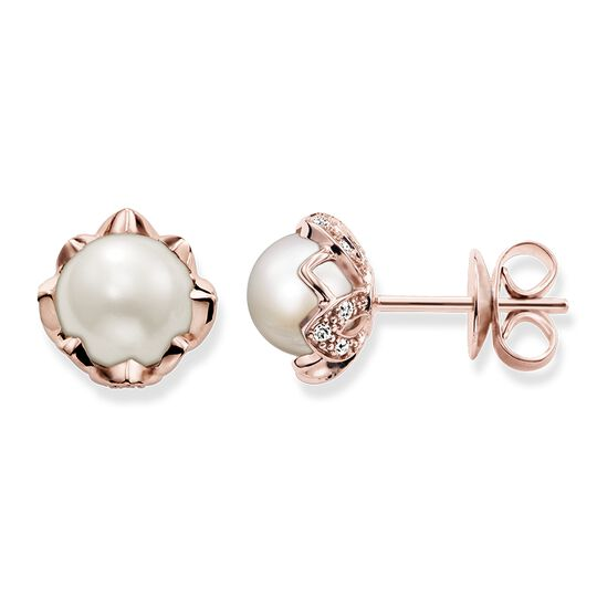 "pearl ear studs ""lotus flower"" from the Glam & Soul collection in the THOMAS SABO online store"