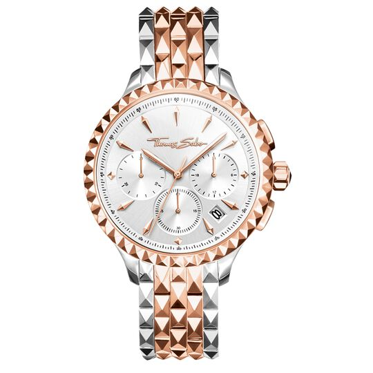 Women's watch REBEL AT HEART WOMEN CHRONOGRAPH rosegold silver from the Rebel at heart collection in the THOMAS SABO online store