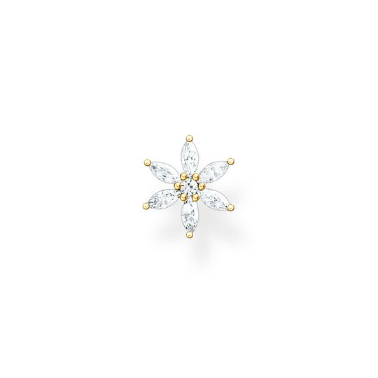 Single ear stud flower white stones gold from the Charming Collection collection in the THOMAS SABO online store