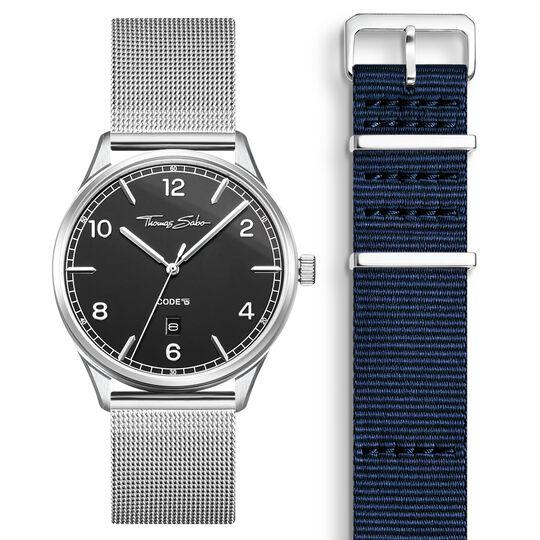 SET CODE TS montre noir et bracelet bleu foncé de la collection  dans la boutique en ligne de THOMAS SABO