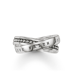 "multiple ring ""faith, love, hope"" from the Rebel at heart collection in the THOMAS SABO online store"