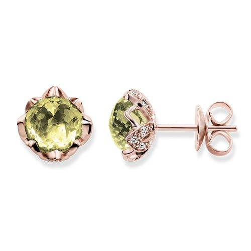 "ear studs ""green lotus flower"" from the Glam & Soul collection in the THOMAS SABO online store"