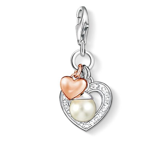 Charm-Anhänger Herzen mit Perle aus der Charm Club Kollektion im Online Shop von THOMAS SABO