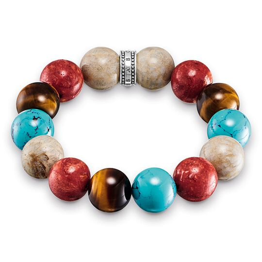 "bracelet ""Power Bracelet brown, red, turquoise"" from the Rebel at heart collection in the THOMAS SABO online store"