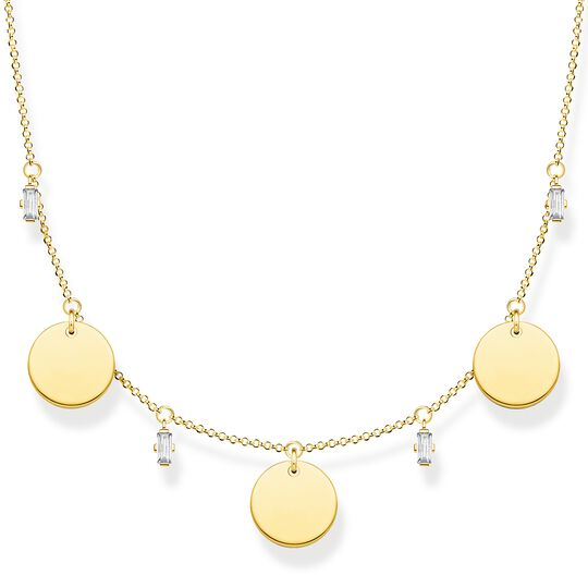 Necklace wih three discs and white stones gold from the Glam & Soul collection in the THOMAS SABO online store