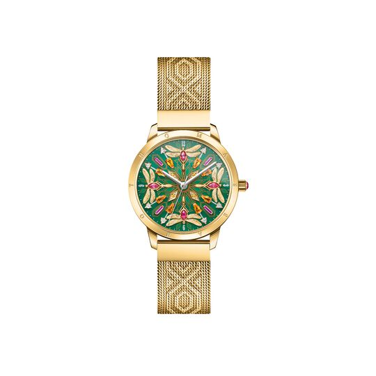 Women's watch kaleidoscope dragonfly gold green from the  collection in the THOMAS SABO online store