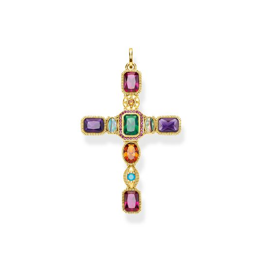 Pendant Cross colourful stones gold from the  collection in the THOMAS SABO online store
