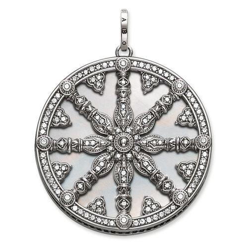 "pendant ""Karma Wheel with mother-of-pearl disc"" from the Karma Beads collection in the THOMAS SABO online store"