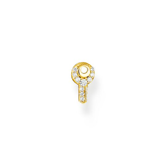 Single ear stud key white stones gold from the Charming Collection collection in the THOMAS SABO online store