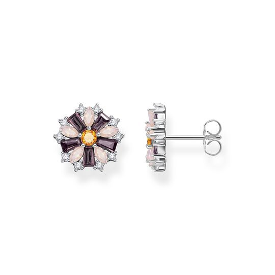Ear studs flower silver with stones from the  collection in the THOMAS SABO online store