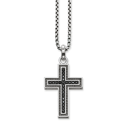 "necklace ""black cross pavé"" from the Rebel at heart collection in the THOMAS SABO online store"