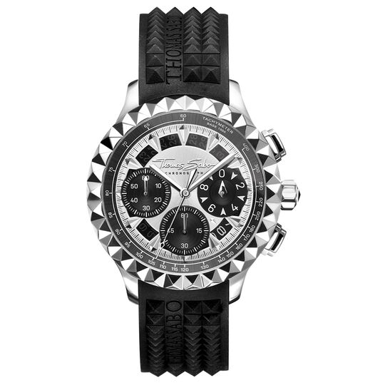 montre pour homme Rebel at Heart Chronograph argent noir de la collection Rebel at heart dans la boutique en ligne de THOMAS SABO