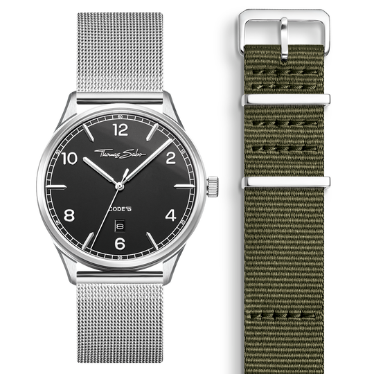 SET CODE TS black watch & khaki strap from the  collection in the THOMAS SABO online store
