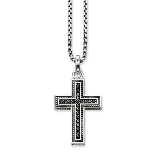 necklace black cross pavé from the Rebel at heart collection in the THOMAS SABO online store