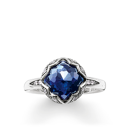 "anello solitario ""loto blu scuro"" from the Glam & Soul collection in the THOMAS SABO online store"