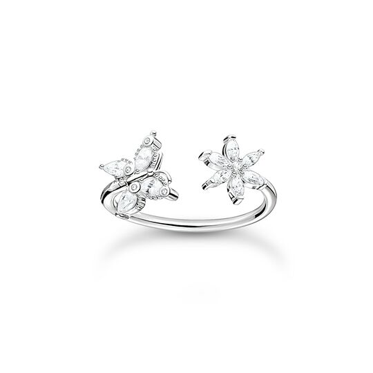 Ring butterfly with flower white stones from the Charming Collection collection in the THOMAS SABO online store