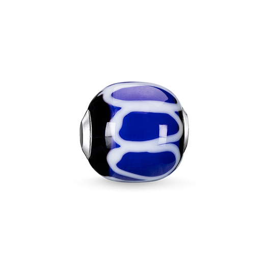 Bead Glass Bead Blue, black, white from the Karma Beads collection in the THOMAS SABO online store
