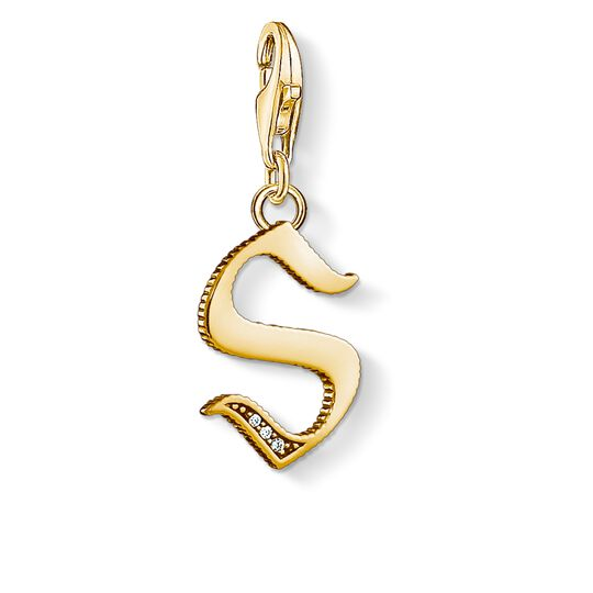 Charm pendant letter S gold from the Charm Club collection in the THOMAS SABO online store