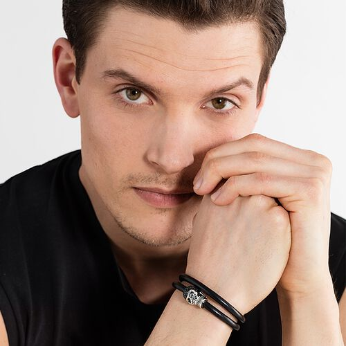 """leather strap """"skull pavé"""" from the Rebel at heart collection in the THOMAS SABO online store"""