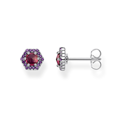 ear studs Hexagon, red from the Glam & Soul collection in the THOMAS SABO online store