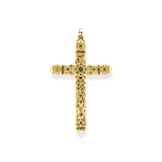 Pendant cross black stones gold from the  collection in the THOMAS SABO online store