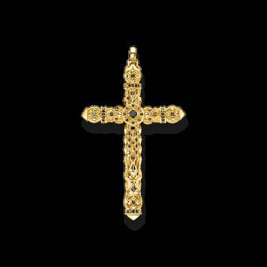 Anhänger Kreuz schwarze Steine gold aus der Rebel at heart Kollektion im Online Shop von THOMAS SABO