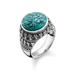"ring ""Ethnic Skulls Turquoise"" from the Rebel at heart collection in the THOMAS SABO online store"