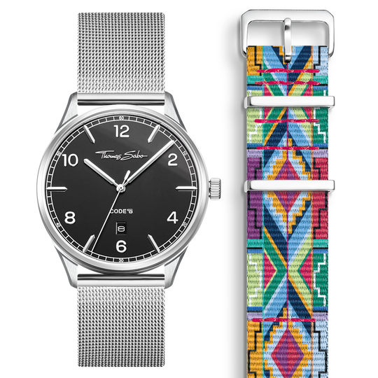 SET CODE TS black watch & coloured graphic pattern strap from the  collection in the THOMAS SABO online store