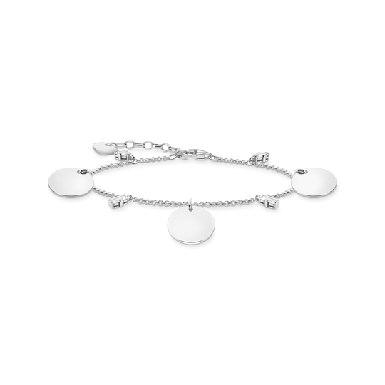 Bracelet wih three discs and white stones silver from the Glam & Soul collection in the THOMAS SABO online store