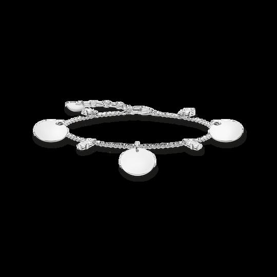 Armband mit drei Coins und weißen Steinen silber aus der Glam & Soul Kollektion im Online Shop von THOMAS SABO
