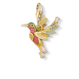 charm pendant colourful hummingbird gold from the  collection in the THOMAS SABO online store