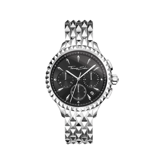 Damenuhr REBEL AT HEART WOMEN CHRONOGRAPH silber schwarz aus der Rebel at heart Kollektion im Online Shop von THOMAS SABO