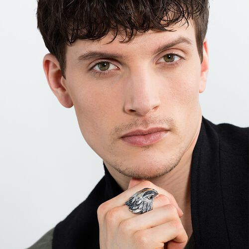 "ring ""diamond falcon"" from the Rebel at heart collection in the THOMAS SABO online store"