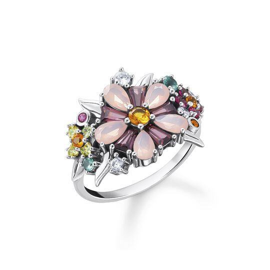 Ring flowers colourful stones silver from the  collection in the THOMAS SABO online store