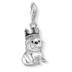 Charm pendant Bulldog with crown from the Charm Club Collection collection in the THOMAS SABO online store