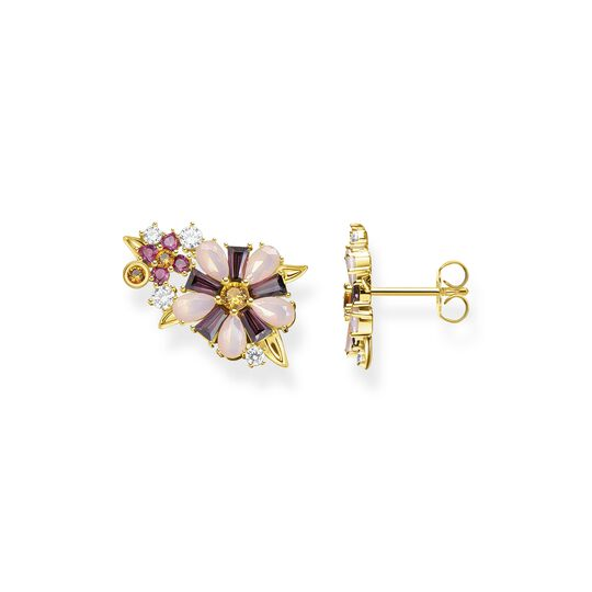 Ear studs flowers colourful stones gold from the  collection in the THOMAS SABO online store