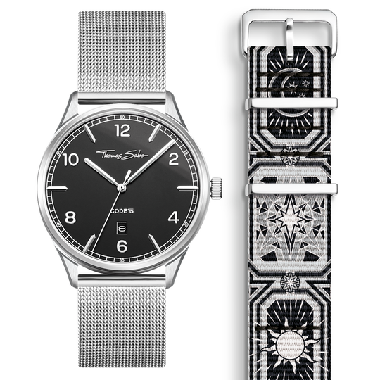 SET CODE TS black watch & bracelet Black night sky from the  collection in the THOMAS SABO online store