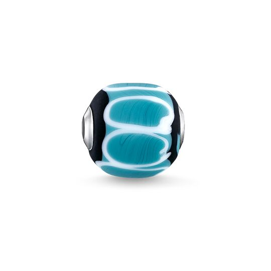 Bead Glass Bead Turquoise, black, white from the Karma Beads collection in the THOMAS SABO online store