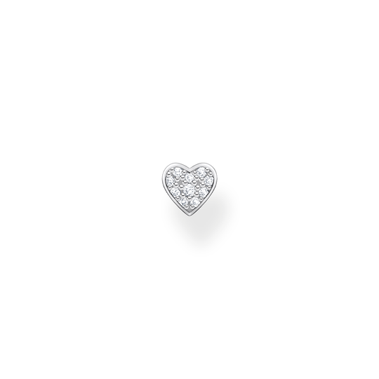 Single ear stud heart pavé silver from the Charming Collection collection in the THOMAS SABO online store