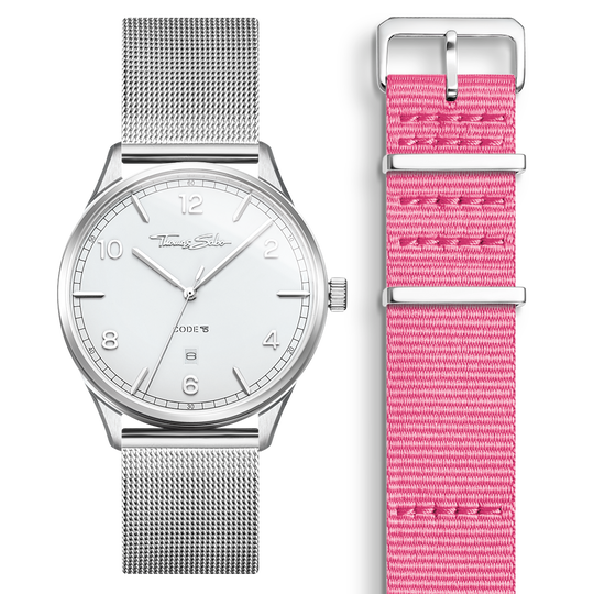 SET CODE TS white watch & pink strap from the  collection in the THOMAS SABO online store